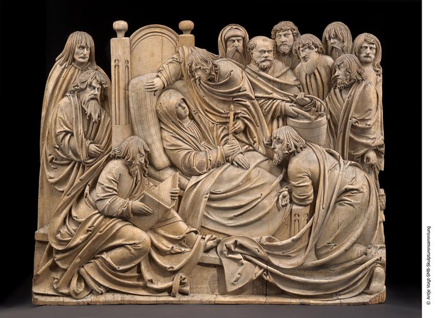 Lindenholz, Relief. Höhe 84,5 cm, Breite 105 cm. Hans Thomas