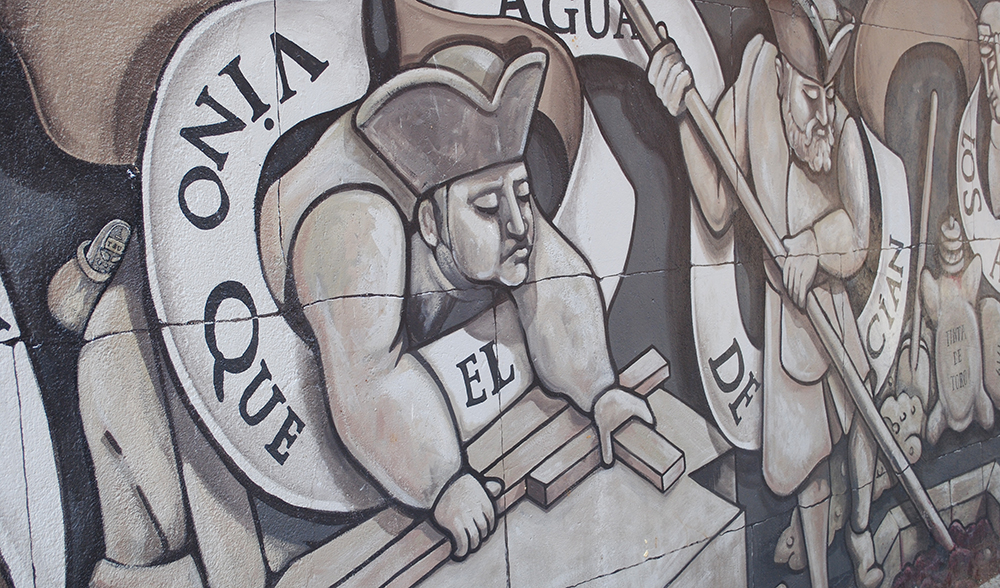 El mural de la puerta del Arco del Reloj